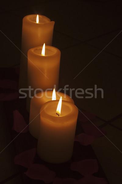 Gyertyák fehér ki sötétség tűz fény Stock fotó © Koufax73