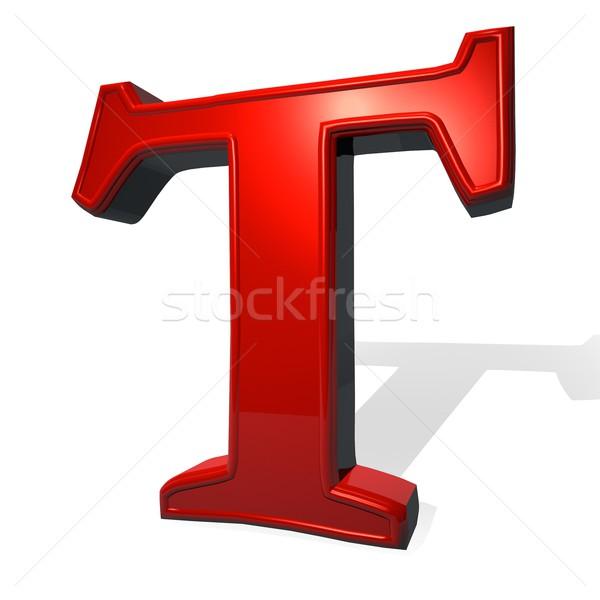 T betű piros fehér árnyék 3d render terv Stock fotó © Koufax73