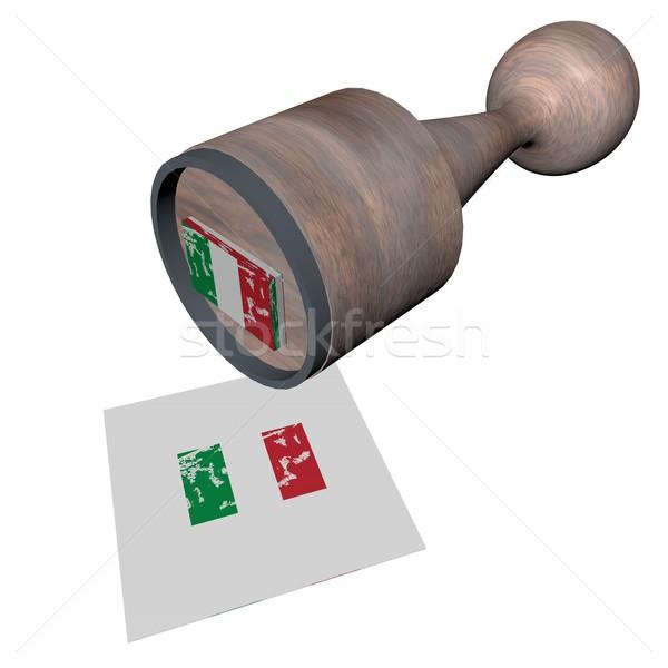 Italien tampon bois drapeau italien rendu 3d fond Photo stock © Koufax73