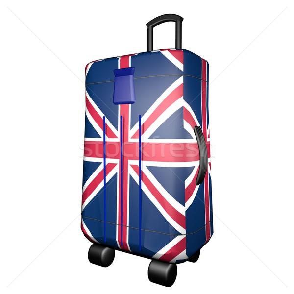 ストックフォト: スーツケース · フラグ · 孤立した · 白 · 3dのレンダリング · 広場