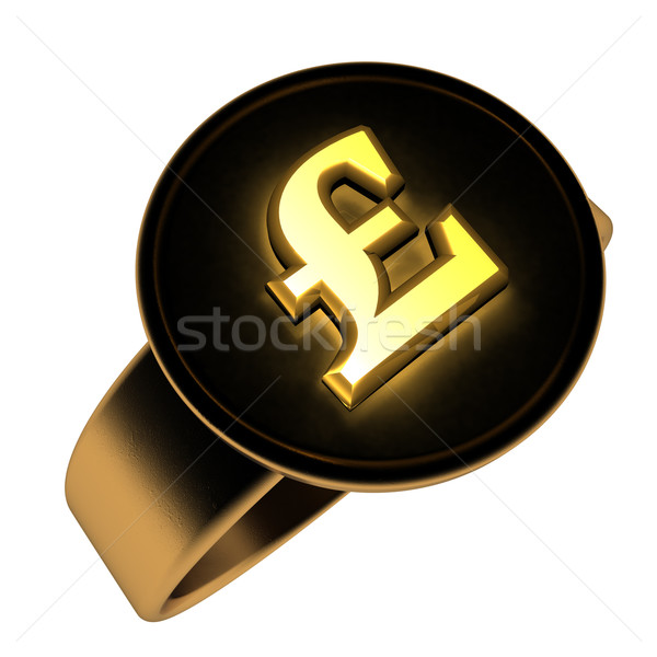 Funt pierścień brytyjski symbol złoty czarny Zdjęcia stock © Koufax73