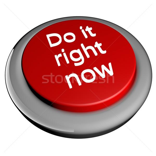 ストックフォト: 右 · 今 · 単語 · 赤 · ボタン · 孤立した