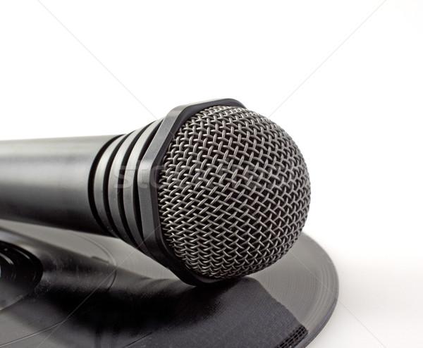 Mikrofon vinil yalnız siyah kayıt müzik Stok fotoğraf © Koufax73