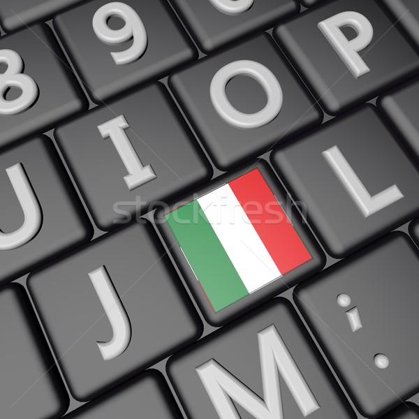フラグ キー イタリア国旗 コンピュータのキーボード 3dのレンダリング 広場 ストックフォト © Koufax73