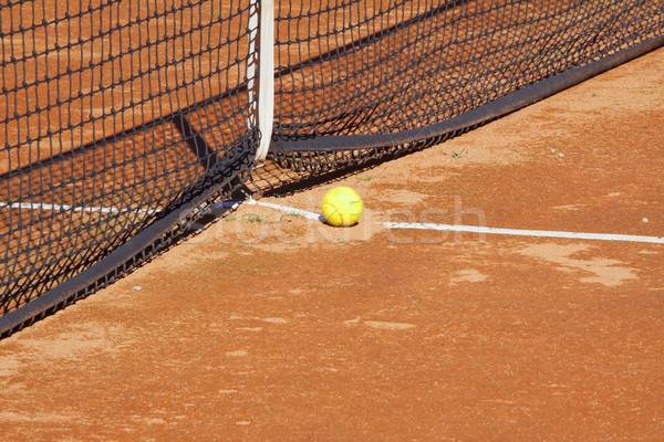 Tennisbal Geel net klei rechter tennis Stockfoto © Koufax73