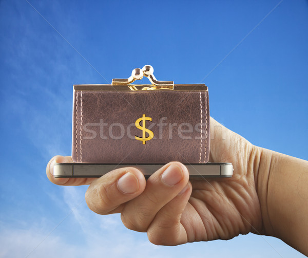 スマートフォン 財布 ドル シンボル 水平な 画像 ストックフォト © Koufax73