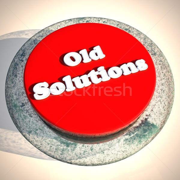 Edad soluciones Rusty botón blanco 3d Foto stock © Koufax73
