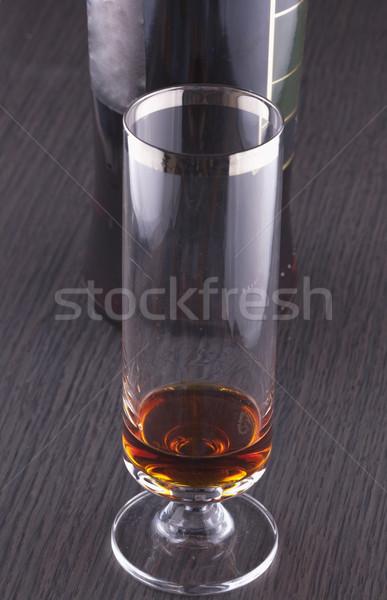 Szeszes ital üveg üveg hát fa asztal bár Stock fotó © Koufax73