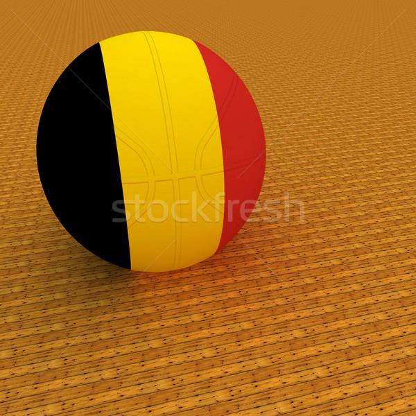 ベルギー バスケットボール フラグ 3dのレンダリング 広場 画像 ストックフォト © Koufax73