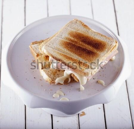Tost durmak peynir jambon beyaz dikey Stok fotoğraf © Koufax73