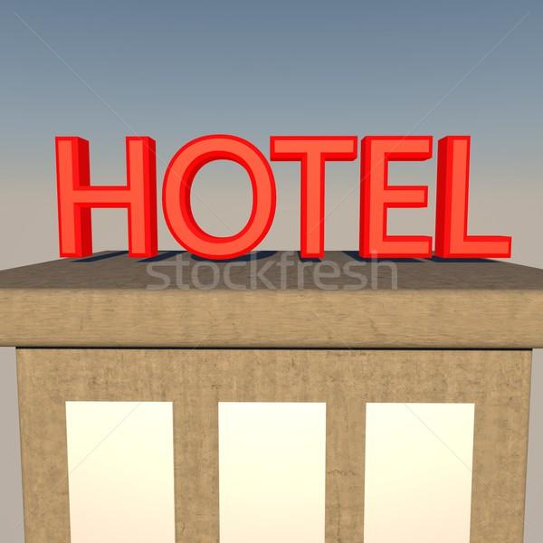 ホテル にログイン 建物 3dのレンダリング 市 背景 ストックフォト © Koufax73