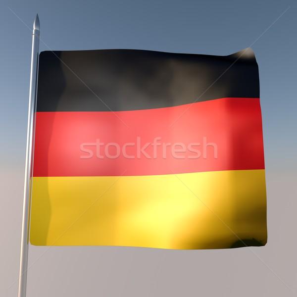 Niemcy banderą Błękitne niebo 3d placu obraz Zdjęcia stock © Koufax73