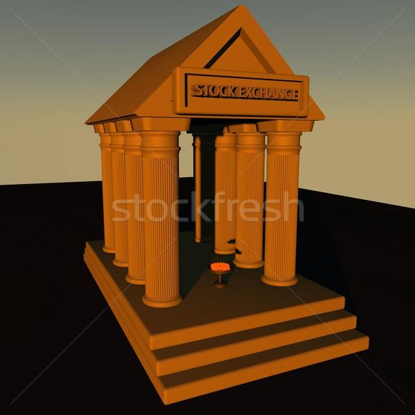 Bolsa forma griego templo 3d ciudad Foto stock © Koufax73