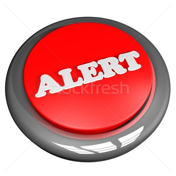 Avvisare pulsante isolato bianco rendering 3d sfondo Foto d'archivio © Koufax73