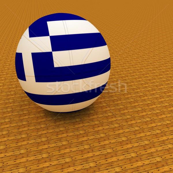 Grécia basquetebol bandeira 3d render praça imagem Foto stock © Koufax73