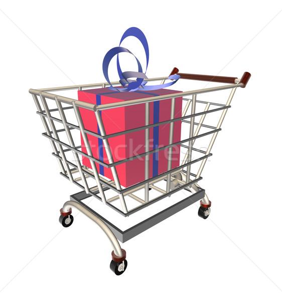 Gift in a shopping cart Stock photo © Koufax73