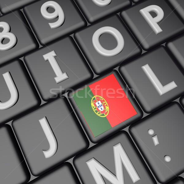 フラグ キー ポルトガル コンピュータのキーボード 3dのレンダリング 広場 ストックフォト © Koufax73