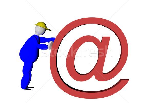 Fantoche empurrando 3d render homem rede e-mail Foto stock © Koufax73