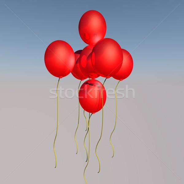 風船 赤 飛行 空気 3dのレンダリング 抽象的な ストックフォト © Koufax73