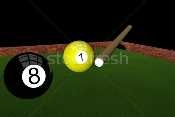 Pool 3d render zwei Kugeln Sport Hintergrund Stock foto © Koufax73