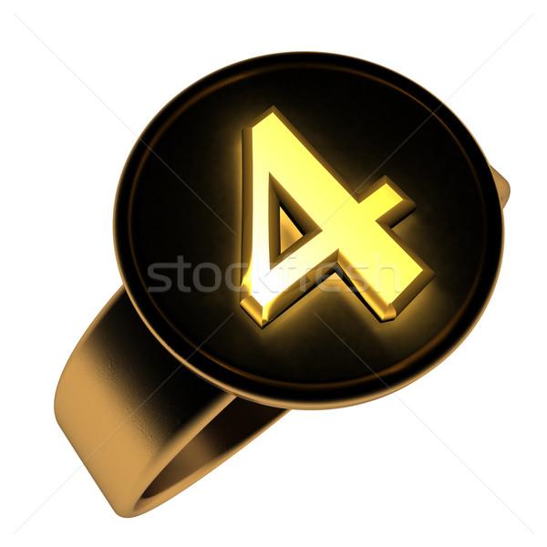 Número dorado negro anillo 3d aislado Foto stock © Koufax73