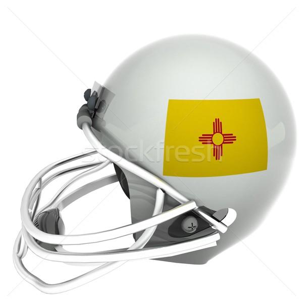 Нью-Мексико футбола флаг шлема 3d визуализации квадратный Сток-фото © Koufax73