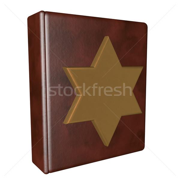 Livro estrela couro dourado isolado branco Foto stock © Koufax73
