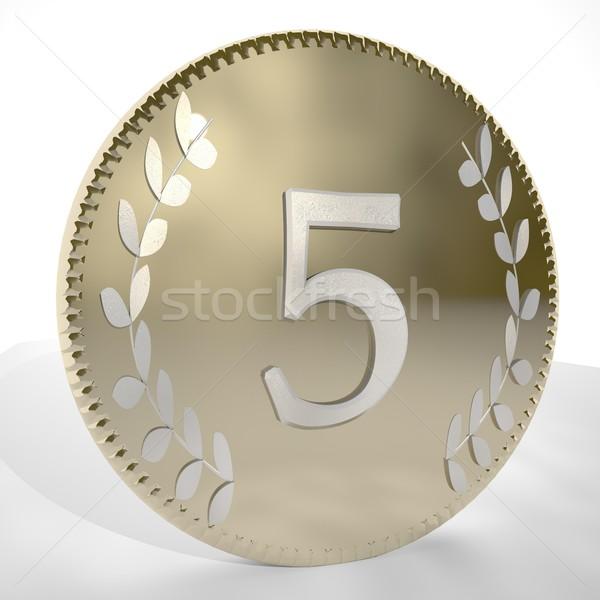 コイン 番号 月桂樹 葉 3dのレンダリング ストックフォト © Koufax73