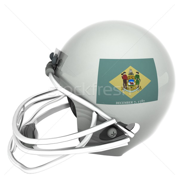 Delaware flag over football helmet, 3d render, isolated over white, square image Stock photo © Koufax73