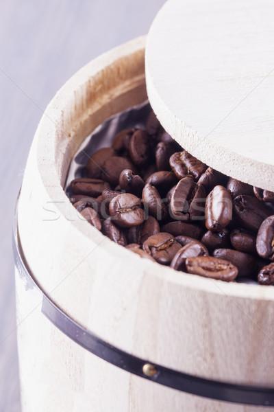 コーヒー豆 木製 垂直 画像 食品 背景 ストックフォト © Koufax73