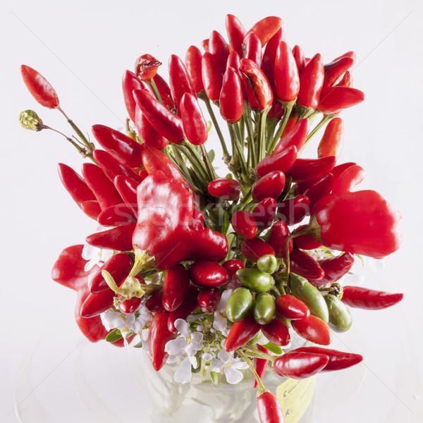 Piros paprikák köteg fehér tér kép Stock fotó © Koufax73