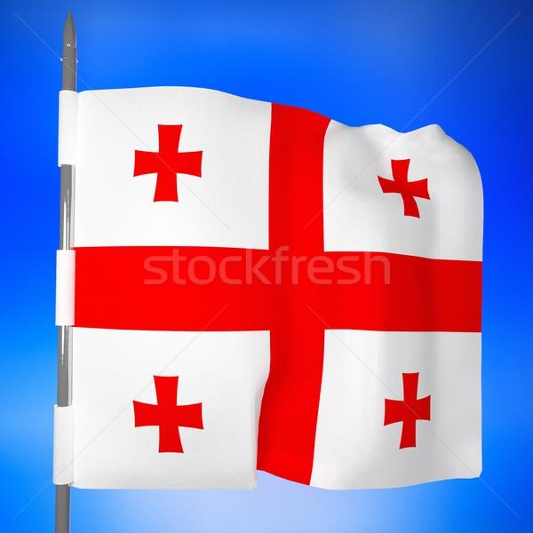 Zászló kék ég 3d render tér kép terv Stock fotó © Koufax73