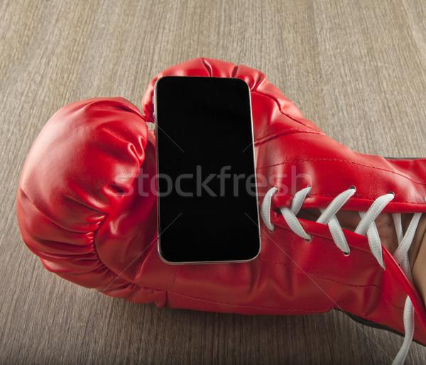 смартфон перчатка стороны красный боксерская перчатка телефон Сток-фото © Koufax73