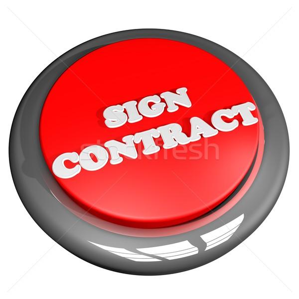 Imzalamak sözleşme düğme yalıtılmış beyaz 3d render Stok fotoğraf © Koufax73