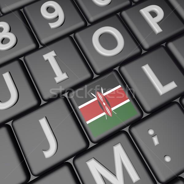 Quênia chave bandeira teclado 3d render praça Foto stock © Koufax73