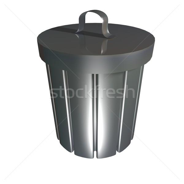 Cesto de lixo metálico isolado branco 3d render fundo Foto stock © Koufax73