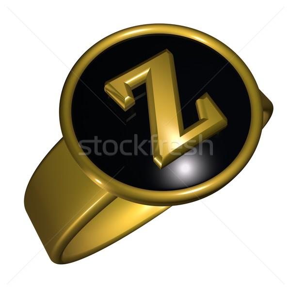 письмо z письме черный золото кольца 3d визуализации Сток-фото © Koufax73