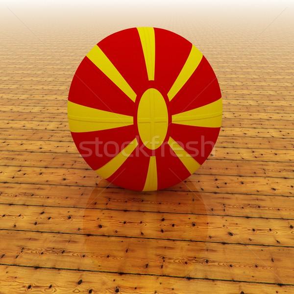 Македонии баскетбол флаг 3d визуализации квадратный изображение Сток-фото © Koufax73