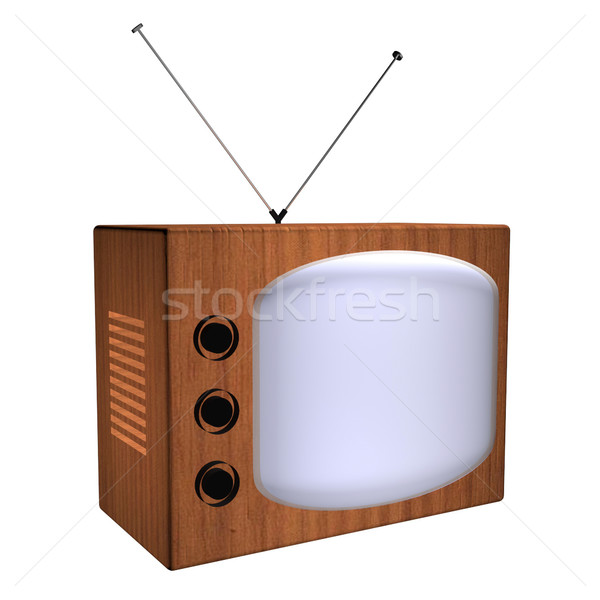 Old wooden tv with antennas, 3d render Stock photo © Koufax73