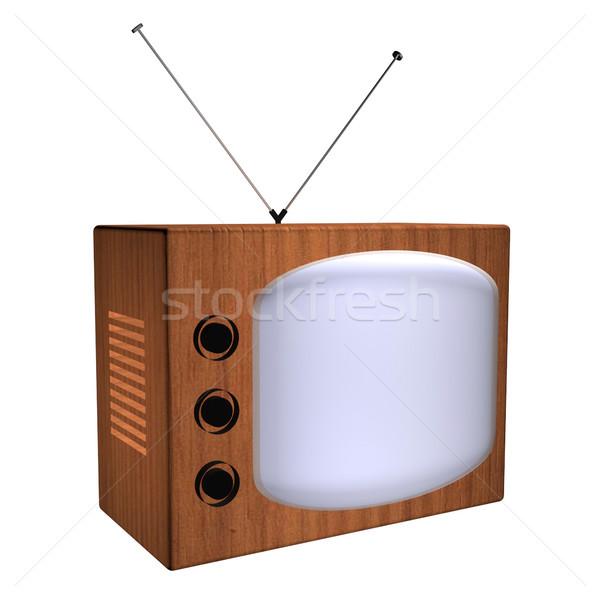 Velho tv 3d render televisão vintage Foto stock © Koufax73