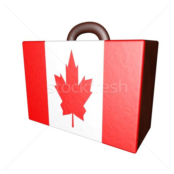 Canada valise cuir drapeau canadien isolé blanche Photo stock © Koufax73