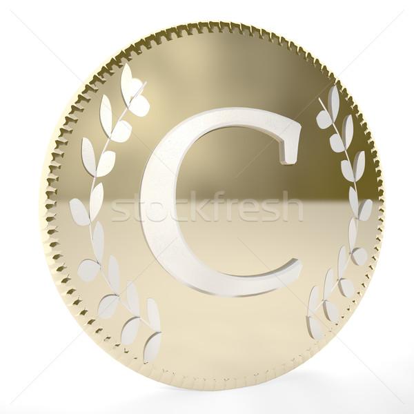 Moneda dorado carta laurel hojas blanco Foto stock © Koufax73