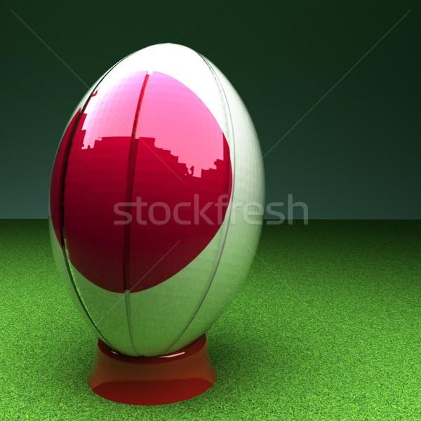Япония регби мяч для регби флаг зеленая трава области Сток-фото © Koufax73