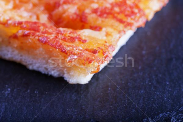 пиццы черный каменные горизонтальный изображение продовольствие Сток-фото © Koufax73