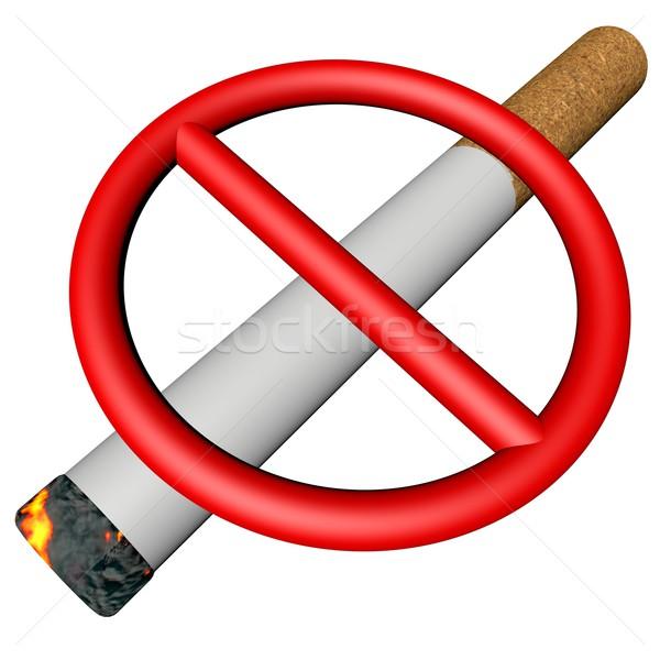 Stock photo: Prohibition sign over cigarette