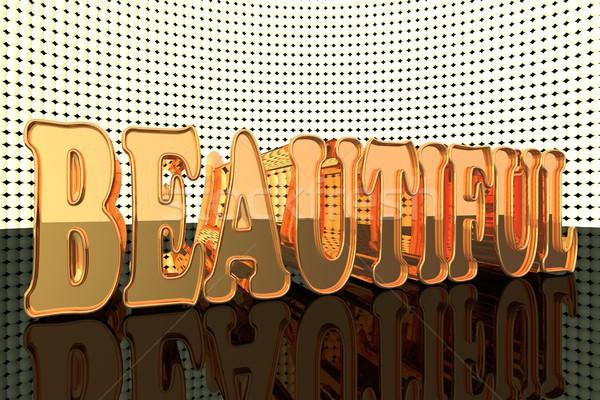 Belo palavra ouro luzes 3d render homem Foto stock © Koufax73
