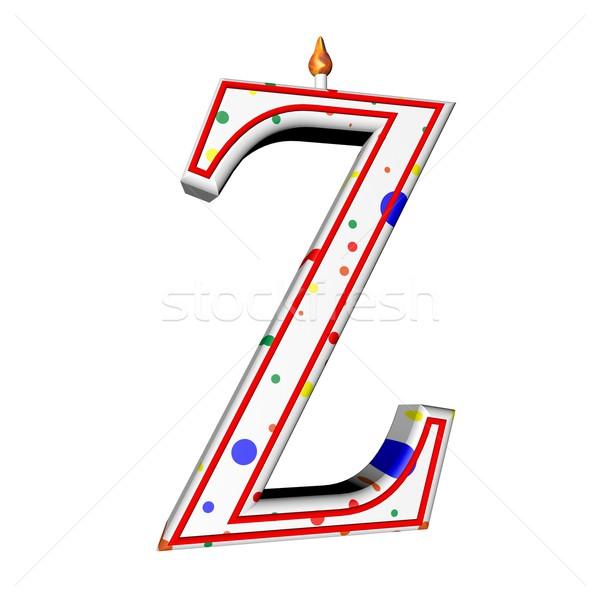 キャンドル 誕生日ケーキ 手紙 歳の誕生日 3dのレンダリング ストックフォト © Koufax73
