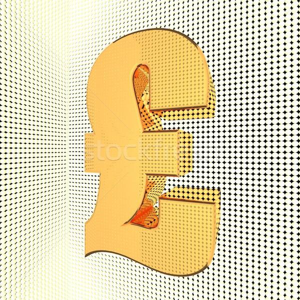 Stok fotoğraf: İngilizler · pound · parlak · altın · 3d · render