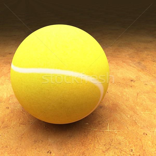 ストックフォト: テニス · 赤 · 粘土 · テニスボール · 表面 · 広場