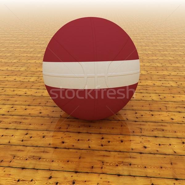 ラトビア バスケットボール フラグ 3dのレンダリング 広場 画像 ストックフォト © Koufax73